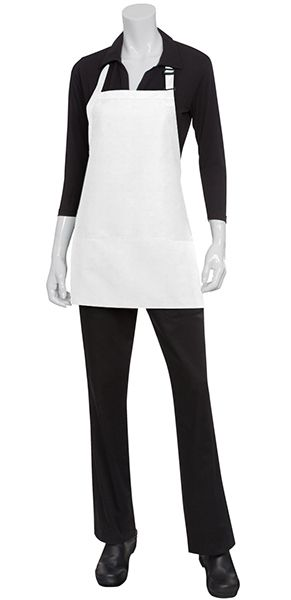 White 3 POCKET Bib Apron