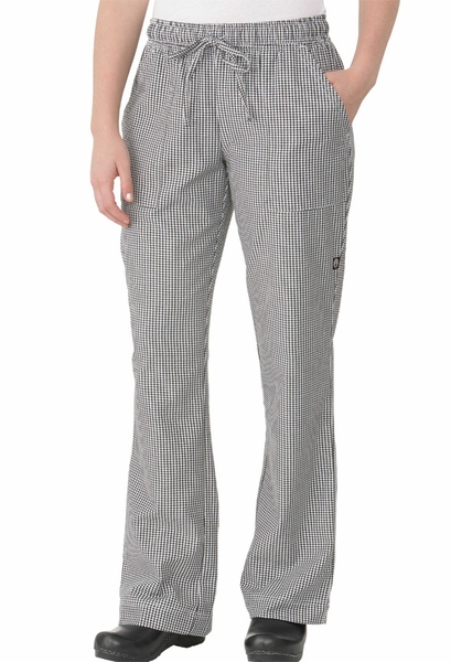 Black & White Small Check Women's Chef Pants