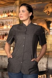 CHELSEA Womens Denim Short Sleeve Chef Coat