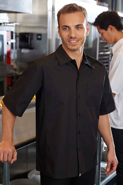 Jet BLACK Cool  Vent Men's Server Shirt