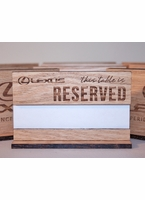 Oak Table Reserved Signs with Paper Name Slot