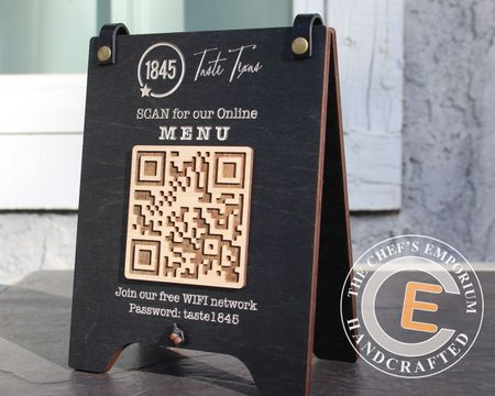 Tabletop Tented Style QR Code Scan for MENU