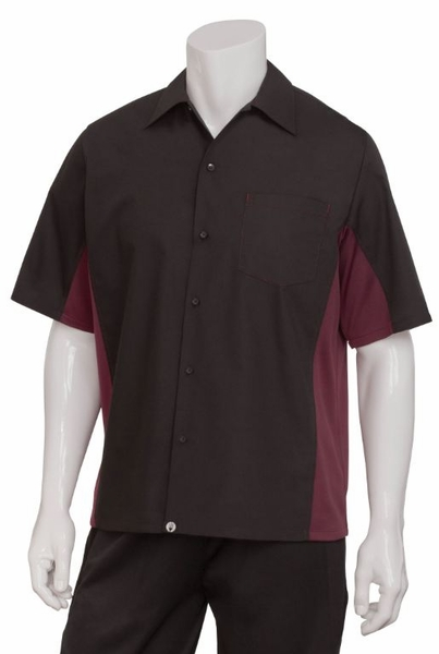 BURGUNDY and BLACK  Waiter Uniform Shirt