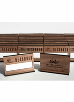 Walnut Table Reserved Signs with Erasable Whiteboard