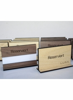 Walnut Table Reserved Signs with Paper Name Slot