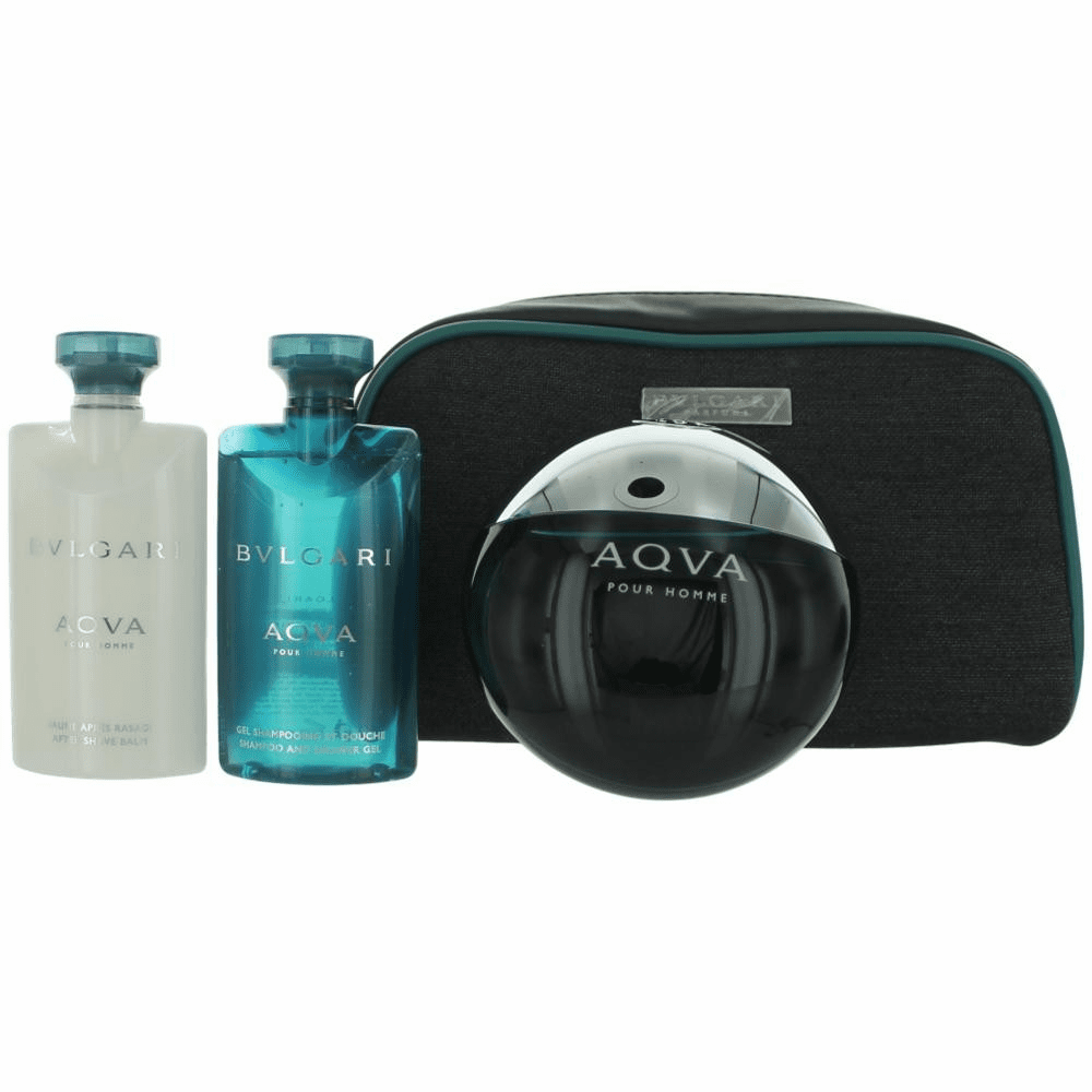 Aqva Pour Homme by Bvlgari, 4 Piece Gift Set for Men