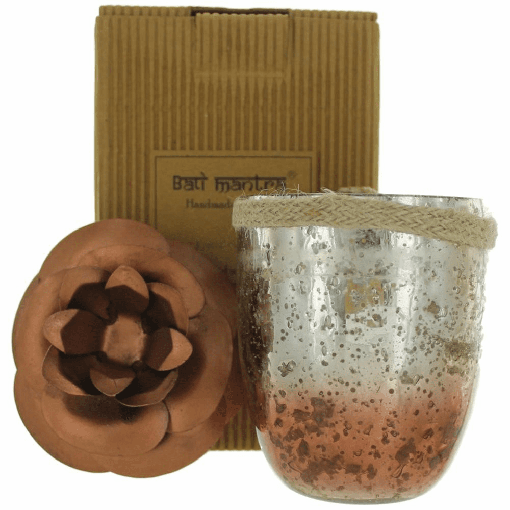 Bali Mantra Handmade Scented Candle In Camellia Glass Copper - French Vanilla