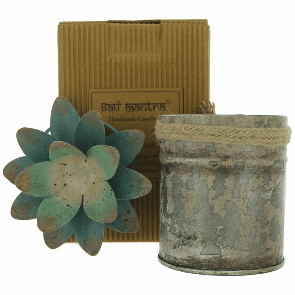 Bali Mantra Handmade Scented Candle In Lotus Tin - Peach Grapefruit
