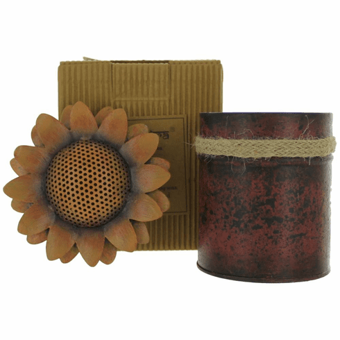 Bali Mantra Handmade Scented Candle In Sunflower Tin - Peach Grapefruit