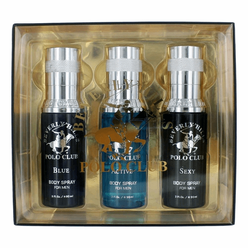 BHPC Body Spray Collection by Beverly Hills Polo Club, 3 Piece Gift Set for Men (Sexy, Active & Blue)