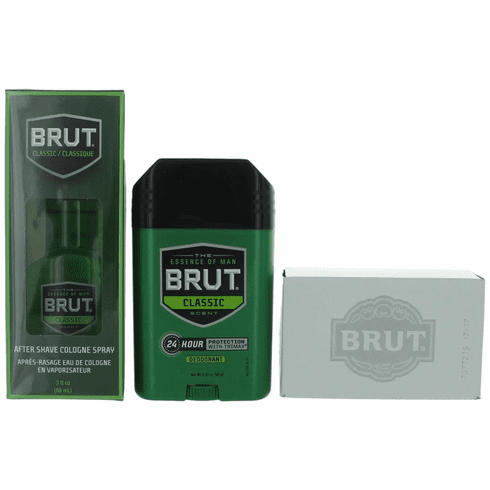 Brut Classic by Brut, 3 Piece Gift Set for Men