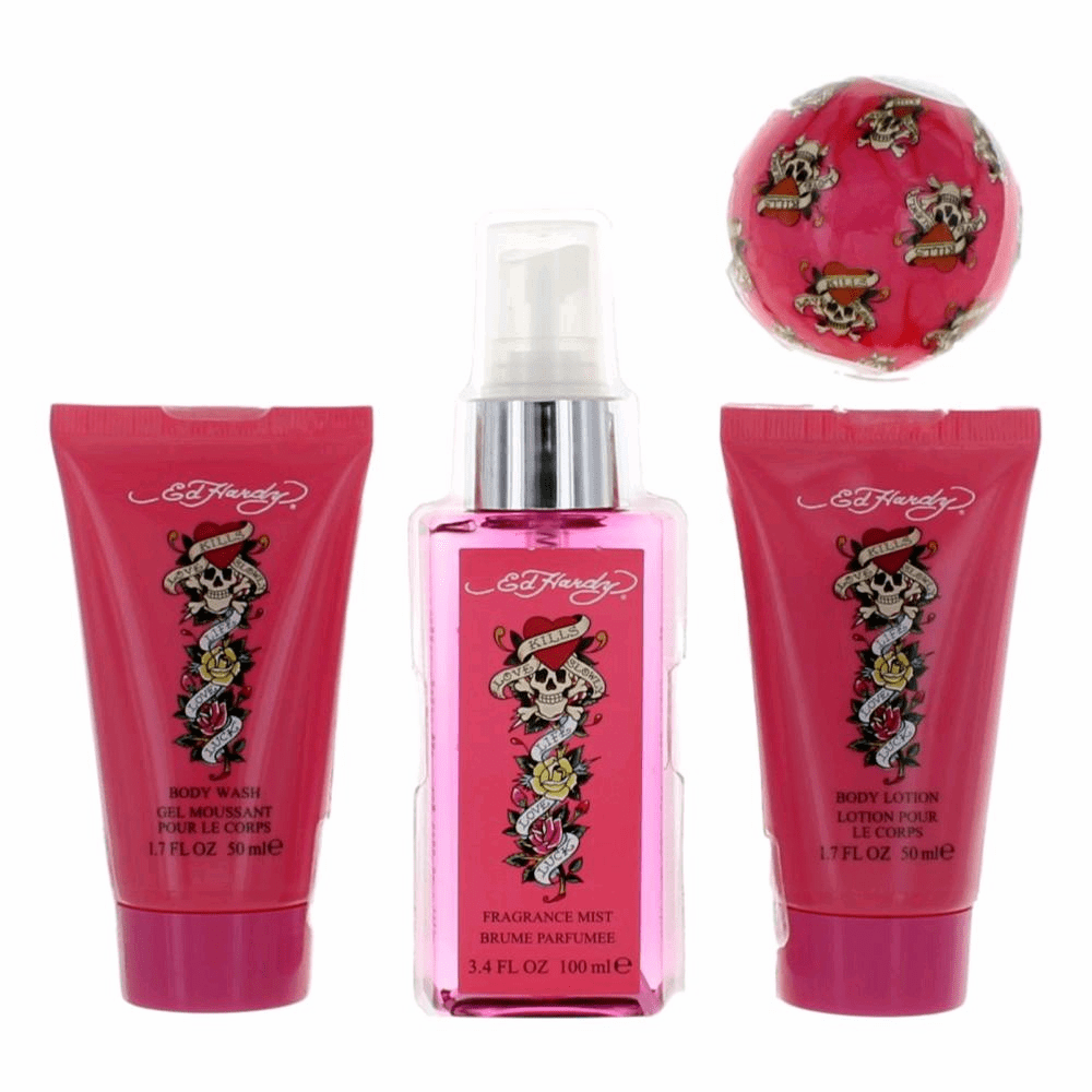 Ed Hardy by Christian Audigier, 4 Piece Bath and Body Gift Set for Women