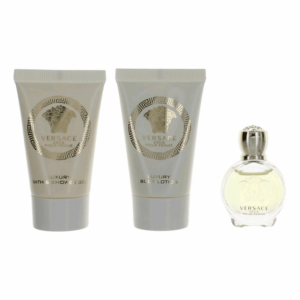 Eros Pour Femme by Versace, 3 Piece Mini Gift Set for Women EDT