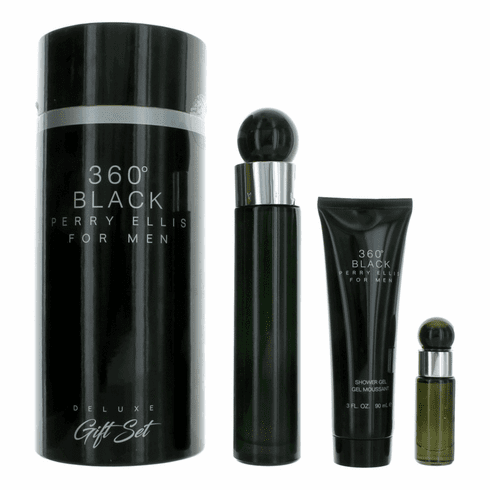 Perry Ellis 360 Black by Perry Ellis, 3 Piece Gift Set for Men