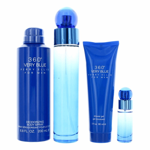 Perry Ellis 360' Very Blue by Perry Ellis, 4 Piece Gift Set for Men