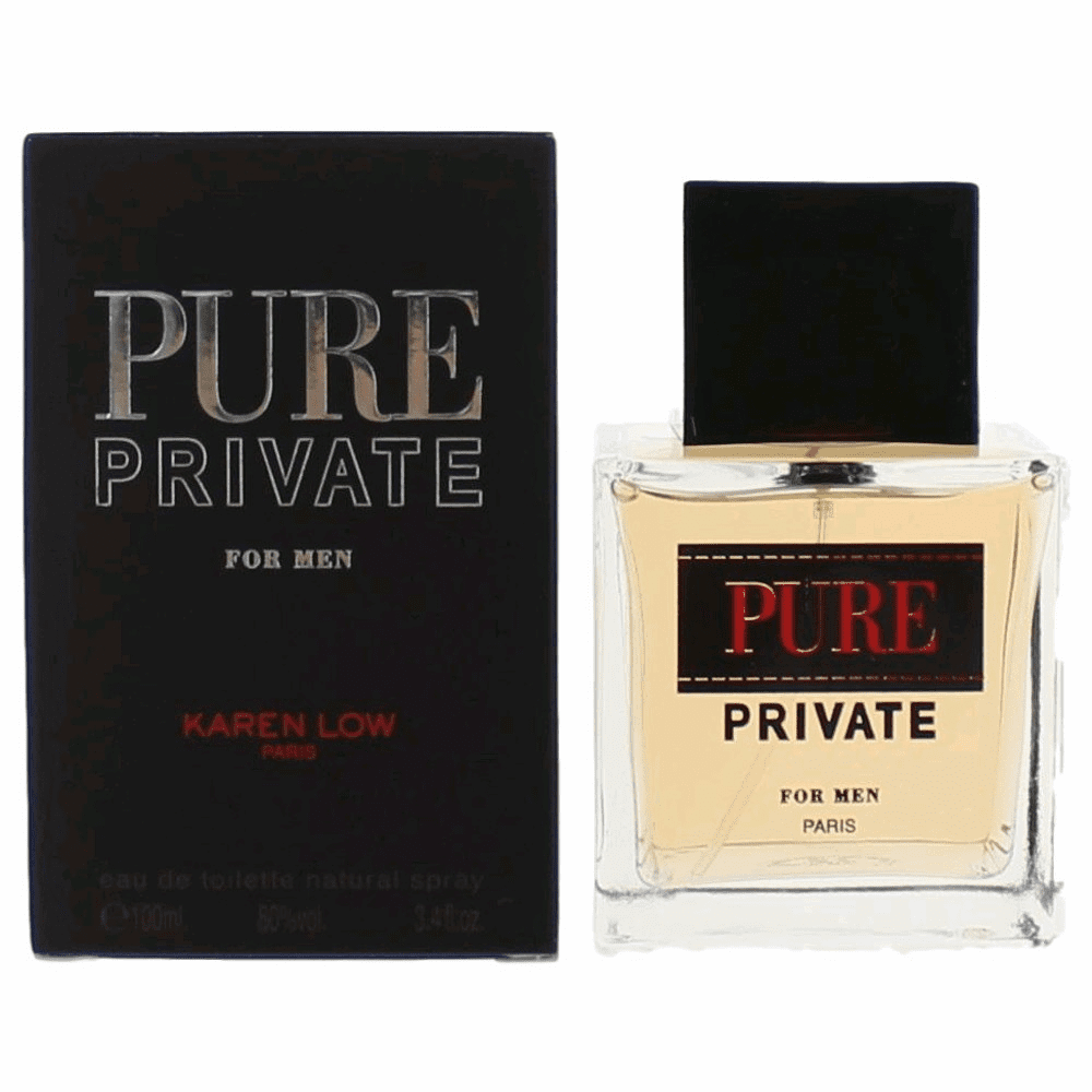 Pure Private by Karen Low, 3.4 oz Eau De Toilette Spray for Men