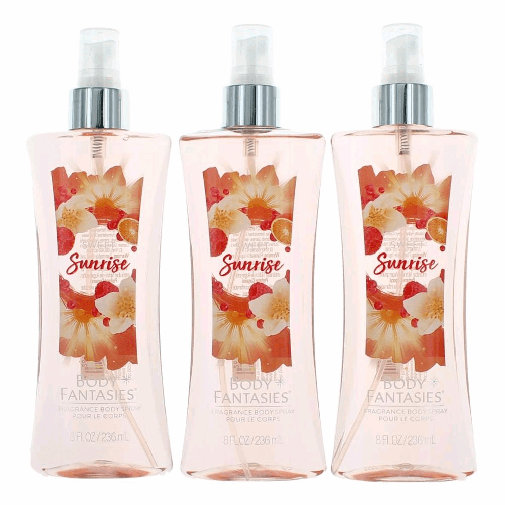 Sweet Sunrise Fantasy by Body Fantasies, 3 Pack 8 oz Fragrance Body Spray for Women