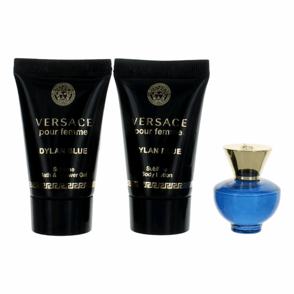 Versace Pour Femme Dylan Blue by Versace, 3 Piece Mini Gift Set for Women