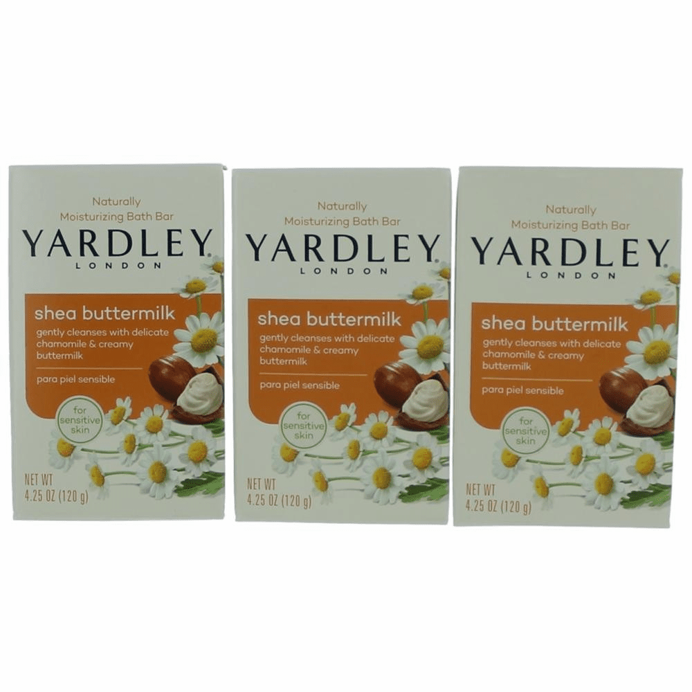 Yardley Naturally Moisturizing Bar Shea Buttermilk by Yardley of London, 3 x 4.25 oz Soap for Women