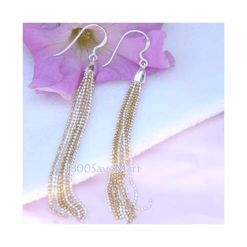 100mm Gold/white Ball Chain Dangle 925 Silver Earrings