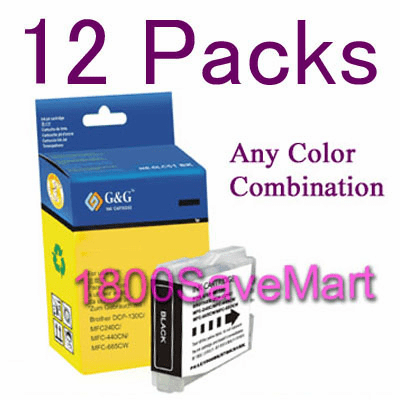 12 packs Brother LC-51 LC51 Ink Cartridges, Any color combination, 1 week special Best Value