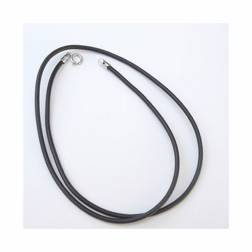 "1MM*16"" Black  Rubber Chain with Silver Clasps  Necklace:all"