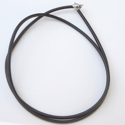 "1MM*18"" Black  Rubber Chain with Silver Clasps  Necklace:all"