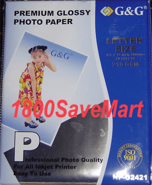 "20-sheet, 8.5"" x 11"" inch premium glossy Photo paper, 9mil thickness, Buy 3 Get 1 Free, Buy 5 Get 2 Free"