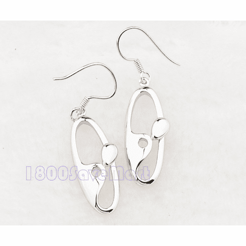 22mm Oval Hoops Sterling Silver Earrings
