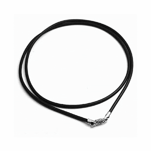 "2MM*16"" Black  Rubber Chain with Silver Clasps  Necklace:all"