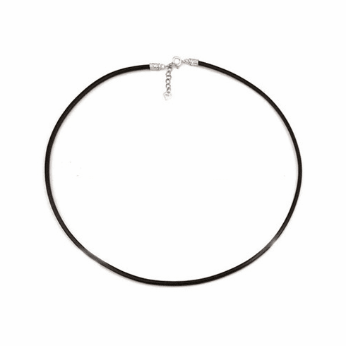 """2mm*18"""" Black Leather Chaim with Silver Clasps"""