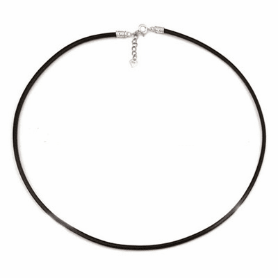 "2mm*18"" Black Leather Chaim with Silver Clasps"