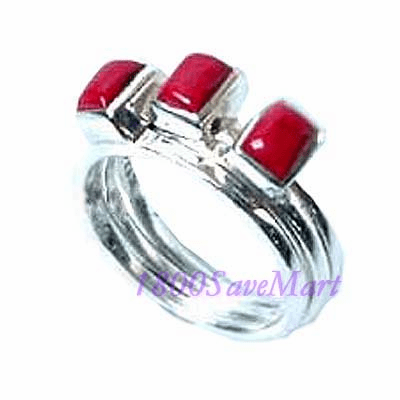 3 Detachable Coral Sterling Silver Ring7 RJ244