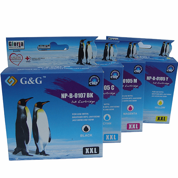 4 packs Brother LC-107BK LC-105C LC-105M LC-105Y Ink Cartridges, Any color combination