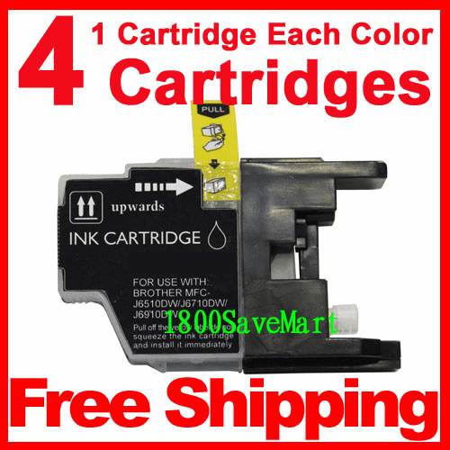 4 Packs Brother LC75BK,  LC75C,  LC75M,  LC75Y Ink Cartridges, Any color combination