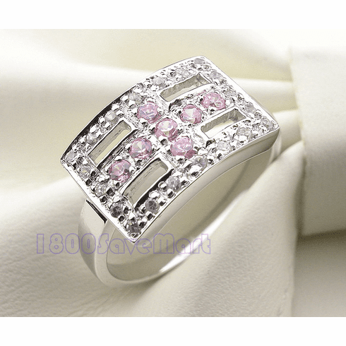 9mm Rectangle Pink/ White CZ Inlay Silver Ring