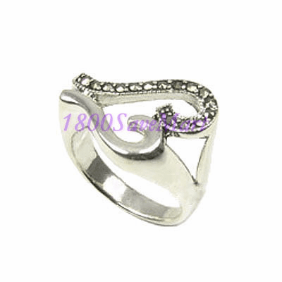 Abstract Marcasite Open Heart Sterling Silver Ring -8