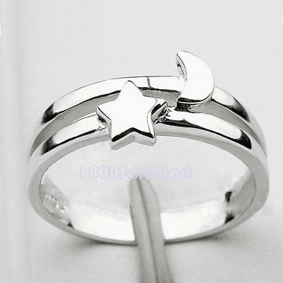 Adorable Moon/Star Sterling Silver Ring RYAF