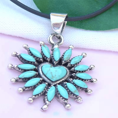 Adorable Multi Stone Flower Sterling Silver Pendant