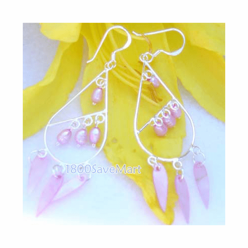 Bead/Leaf Teardrop Chandelier Sterling Silver Earrings