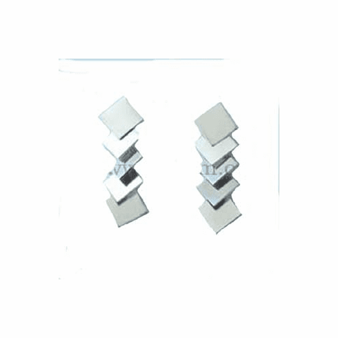 Bent Square Discs Drop Sterling Silver Earrings