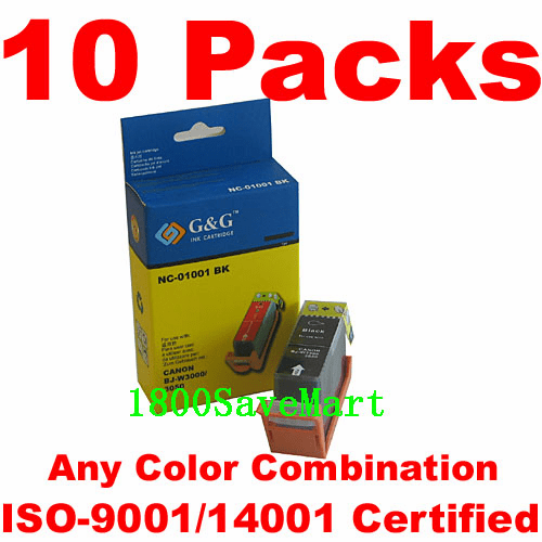 Canon BCI-1001, BCI-1001BK, BCI-1001C, BCI-1001M, BCI-1001Y Value Pack -10 Cartridges, any color selection