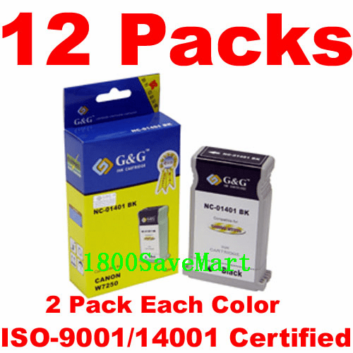 Canon BCI-1401, BCI-1401BK, BCI-1401C, BCI-1401M, BCI-1401Y, BCI-1401LC, BCI-1401LM Value Pack -12 Cartridges, any color selection