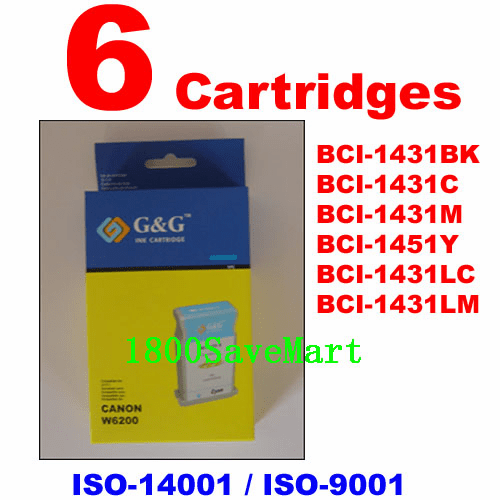 Canon BCI-1431, BCI-1431BK, BCI-1431C, BCI-1431M, BCI-1451Y, BCI-1431LC, BCI-1431LM Value Pack -6 Cartridges, any color selection
