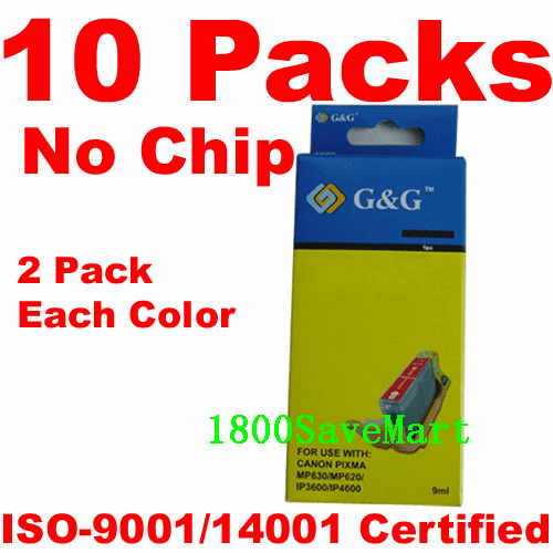 Canon CLI-221, PGI-220 Value Pack - 10 Cartridges, No Chip, any color selection