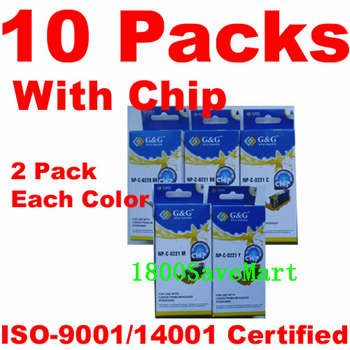 Canon CLI-221, PGI-220 Value Pack - 10 Cartridges, With Chip, any color selection