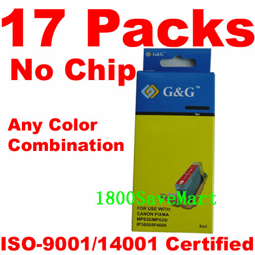 Canon CLI-221, PGI-220 Value Pack - 17 Cartridges, No Chip, any color selection