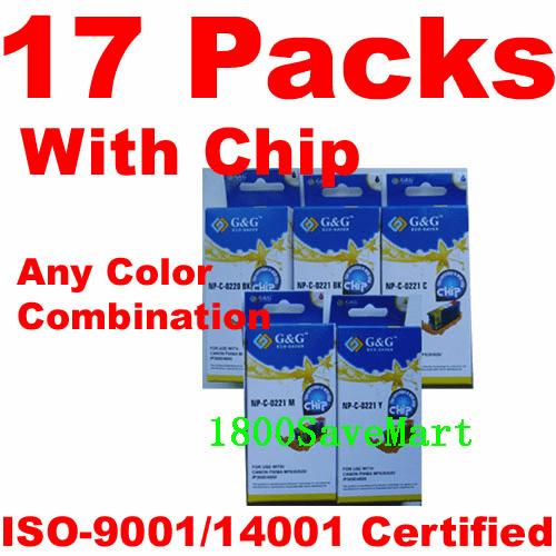Canon CLI-221, PGI-220 Value Pack - 17 Cartridges, With Chip, any color selection
