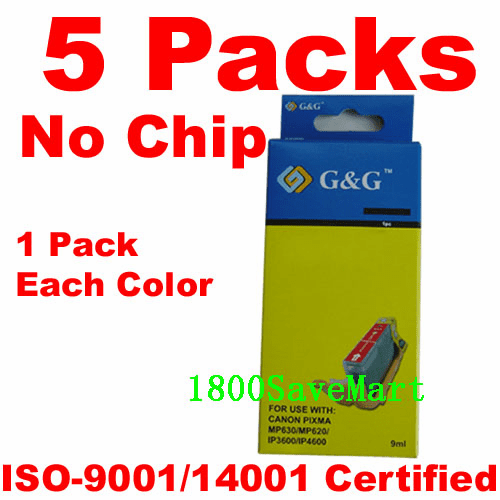 Canon CLI-221, PGI-220 Value Pack - 5 Cartridges, No Chip, any color selection