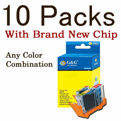 Canon CLI-8, PGI-5BK Value Pack - 10 Cartridges, WITH Chip, any color selection